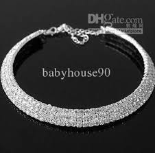 silver choker collar necklace images 2018 women diamond collar necklace blingbling rhinestone plated jpg