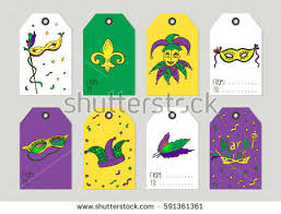 mardi gras items set mardi gras vintage gift tags stock vector 591361361
