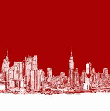 new york city red skyline drawing by building art