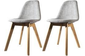 chaises grise lot de 2 chaises scandinave en tissu grise design sur sofactory