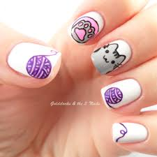 sweet cotton candy nail colors and designs cat nail art pusheen