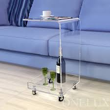 c table with wheels c shaped waterfall acrylic occasional side tray table on wheels
