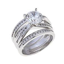 ring set absolute 2 64ctw cubic zirconia sterling silver overlapping