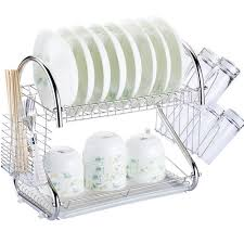 Dishes Rack Drainer 2 Tier Multi Function Stainless Steel Dish Drying Rack Cup Drainer