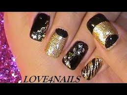 gold u0026 black rockstar nail art tutorial youtube