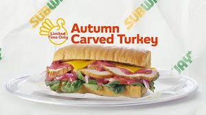 thanksgiving themed autumn carved turkey sub is back at subway