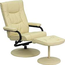 homcom pvc leather recliner and ottoman set cream amazon com flash furniture contemporary cream leather recliner and