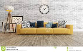 Interior Design Yellow Walls Living Room Living Room With Big Watch On White Brick Wall 3d Rendering Stock