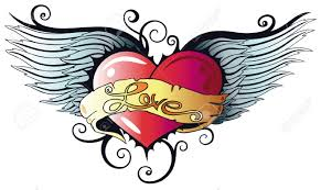 Hearts With Wings - colorful with wings style royalty free cliparts