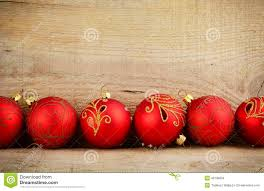 bottom line red baubles christmas ornaments wooden stock photo