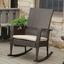 Indoor Patio Furniture by Indoor Outdoor Patio Porch Dark Brown High Back Wicker Rocking