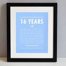 Birthday Love Letters For Her Personalised 16th Birthday Print By Elephant Grey