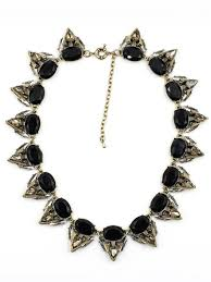black necklace stone images Crescent black stone collar necklace hello suppy jpg