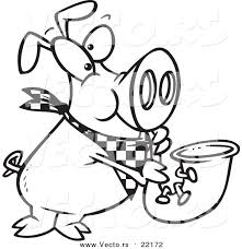 vector of a cartoon pig playing a saxophone outlined coloring