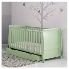 Sleigh Cot Bed White Pistachio Obaby Stamford Sleigh Cot Bed With Drawer Babythingz