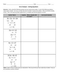 error analysis solving equations by creating meaningful math tpt