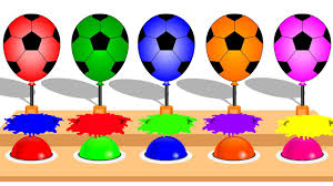 Best Color For Kids Colors For Children Learn With Soccer Ball Balloons Watercolor