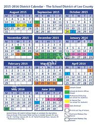 2015 2016 student calendar lee county district u2013 fort