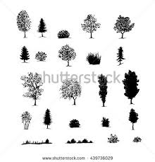 hand drawn sketch trees bushes grass stock vector 439736029