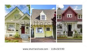 three homes collage three home exteriors stock photo 118432330