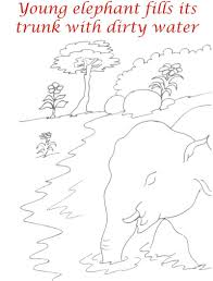 elephant drinks water coloring printable page