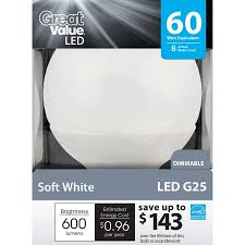 led light bulb wattage chart great value led light bulb 8w 60w equivalent g25 e26 dimmable