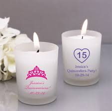 candle favors quinceañera personalized frosted glass candle favor quinceañera