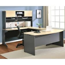 Modern Computer Desk With Hutch by Furniture Cherry Finished Wooden Work Station Decor With Lighted