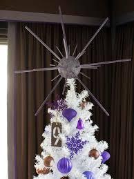 white tree decorations purple ne wall