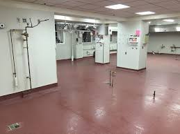 commercial kitchen with flash coving sprague floor
