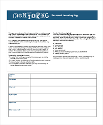 mentoring template learning log template 10 free word excel pdf document