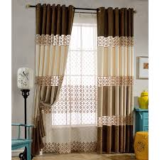 vintage bedroom curtains coffee and chocolate floral embroidery linen cotton blend vintage