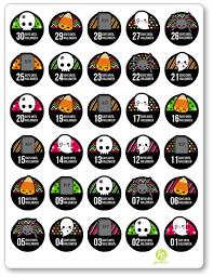 countdown to halloween calendar countdown pdf printable planner stickers