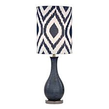 Ceramic Accent Table Navy Blue Textured Ceramic Accent Table Lamp With Printed Shade