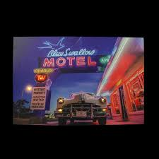 led lighted famous blue swallow motel with classic car canvas wall