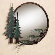 Circle Wall Mirrors Pine Tree Round Wall Mirror