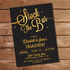 stock the bar party gold glitter stock the bar engagement party invitation