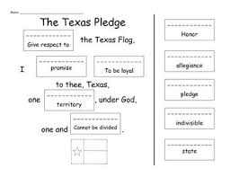 students will match the words in the texas pledge to their