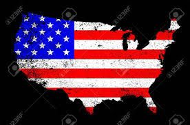 Flag With Cross And Stripes An Outline Silhouette Map Of The United States Of America Showing