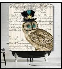 Owl Shower Curtains Steampunk Owl Shower Curtain Owl Bird Top Hat Clock Watch