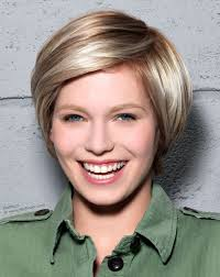 short hairstyle with highlights lowlights and a long fringe
