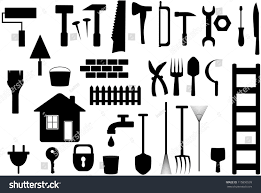 graphic design works at home set black isolated tools work home stock vector 115850539