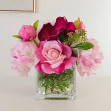 silk peonies real touch pink roses orchid silk peonies arrangement flovery