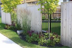 cedar fence with trees and ornamental iron transitional