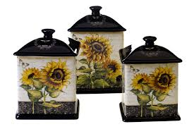 black canisters for kitchen amazon com certified international french sunflowers 3 piece