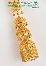 gold jhumka earrings design 22 karat gold jhumkas gold chandelier earrings 235 gjh113 in