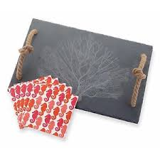 mud pie cutting boards mud pie 13 fan coral slate cutting board set ebay