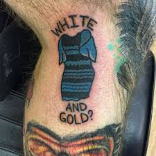 texas man tattoos infamous internet dress on leg ny daily news