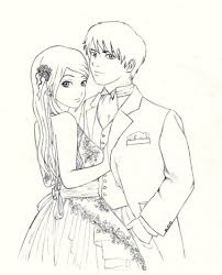 cute anime couple holding hands drawing love imágenes por