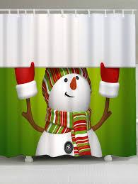 Snowman Shower Curtain Target by Christmas Snowman Print Bath Decor Shower Curtain Green White W